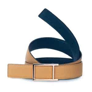 Beige and Navy Bull-Calf Pink Golden Buckle Belt