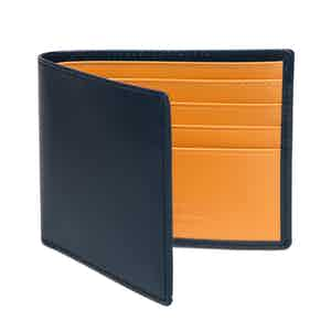 Petrol Blue and London Tan Billfold Wallet with 6 C/C, Bridle Hide Collection