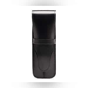 Black Bridle Hide Double Pen Case