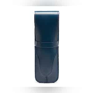 Petrol Blue Bridle Hide Double Pen Case