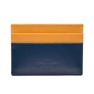 Petrol Blue and London Tan Flat Credit Card Case, Bridle Hide Collection