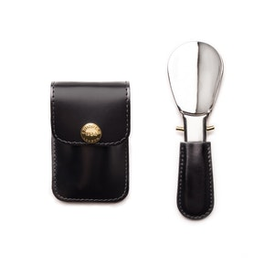 Black and Silver Travel Shoe Horn, Bridle Hide Collection