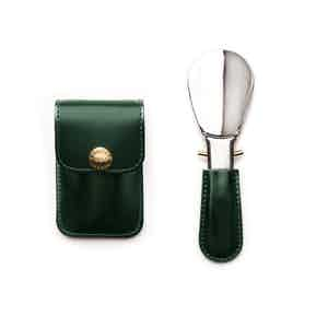 Green and Silver Travel Shoe Horn, Bridle Hide Collection