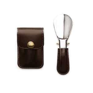 Nut and Silver Travel Shoe Horn, Bridle Hide Collection