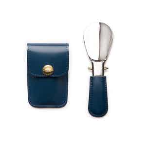 Petrol Blue and Silver Travel Shoe Horn, Bridle Hide Collection