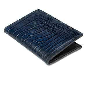 Dark Blue Alligator and Lizard Bifold Card Holder No.8