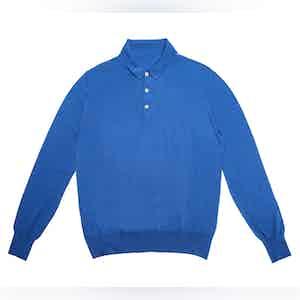 Blue Lightweight Merino Polo Shirt