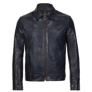 Navy Oldman Leather Jacket