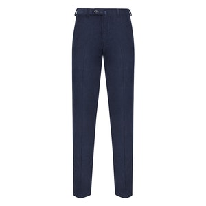 Blue Corduroy Flat-Fronted Trousers