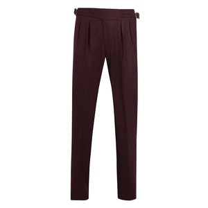 Bordeaux Manny Pleated Flannel Wool Trousers