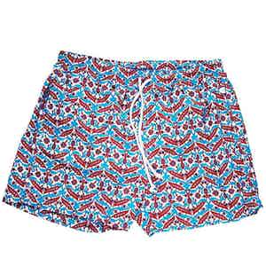 Blue and Red Patterned Swim Shorts