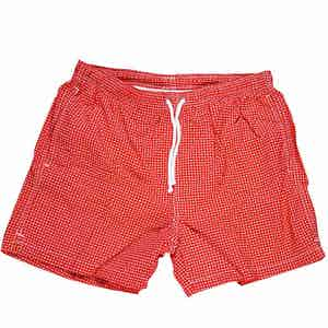 Red and White Mini Paisley Swim Shorts
