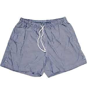 Navy and White Stripe Swim Shorts