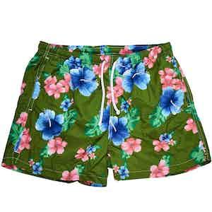 Green Hawaiian Print Swim Shorts