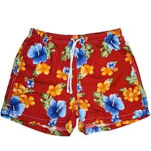 Red Hawaiian Print Swim Shorts