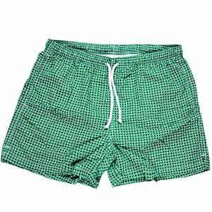 Green and White Daisy Swim Shorts
