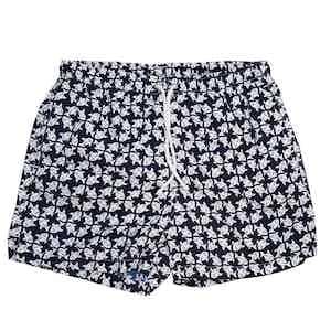 Navy and White Fish Swim Shorts