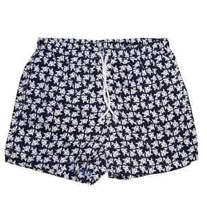 Navy and White Fish Swim Shorts