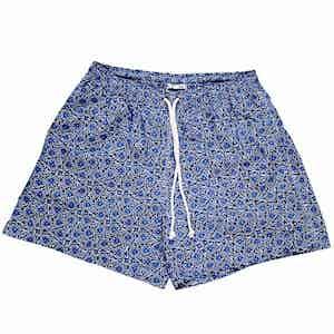 Blue and White Flower Swim Shorts