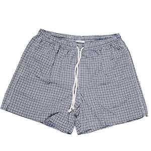 Navy and White Geometric Print Swim Shorts