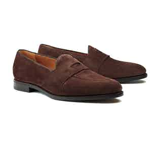 Dark Brown Guttuso Suede Loafers