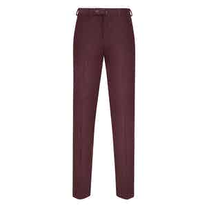 Burgundy Corduroy Flat-Fronted Trousers