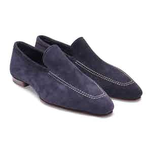 Navy Blue Kudu Reverse Unlined Loafer