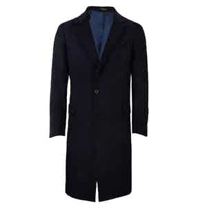Navy Single-Breasted Cashmere Coat