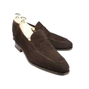 Brown Suede Norwegian Split Toe Penny Loafers