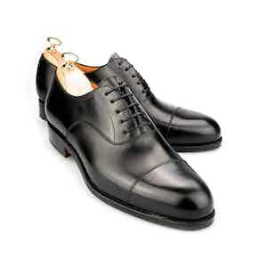 Black Round Toe Leather Oxfords