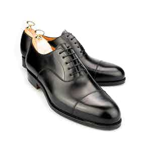 Black Round Toe Leather Oxfords