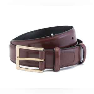 Burgundy Box Calf Leather Belt