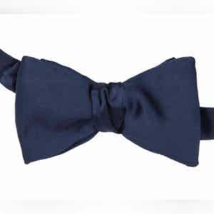 Navy Untied Silk Bow Tie