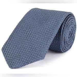 Blue Grenadine Weave Silk Tie