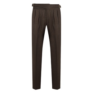 Chocolate Brown Manny Pleated Flannel Wool Trousers