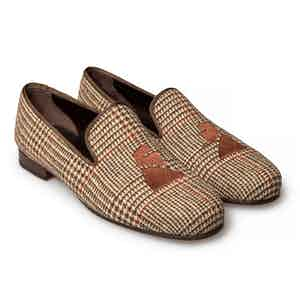 Brown Tweed Churchill Slippers