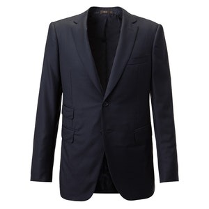 Navy Single-Breasted Two Piece Wool Suit