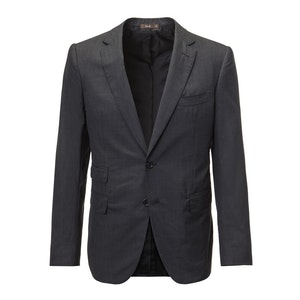 Charcoal Single-Breasted Two Piece Wool Suit