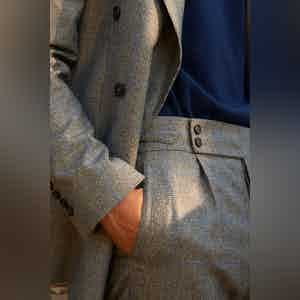 Clyde Vitale Barberis Canonico Grey Prince Of Wales Wool Suit Trousers