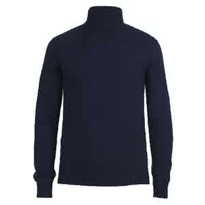 Navy Cashmere Roll Neck