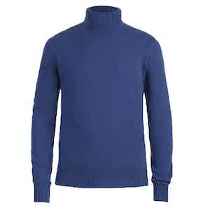 Blue Cashmere Roll Neck