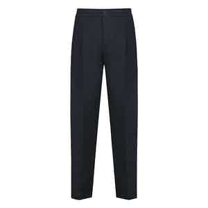 Blue Linen Drawstring Trouser