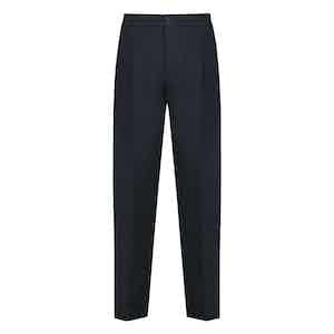 Blue Linen Drawstring Trouser