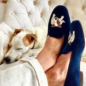 Dark Blue Embroidered Velvet Slippers – Bertie Portrait