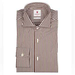 Brown and White Dandy Stripe Handmade Cotton Shirt