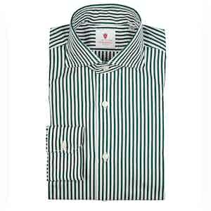 Green and White Dandy Stripe Cotton Shirt
