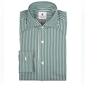 Green and White Dandy Stripe Cotton Shirt