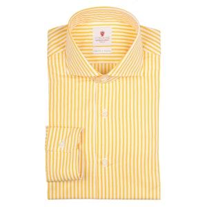 Yellow and White Dandy Stripe Handmade Cotton Shirt