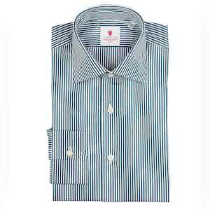 Green and White Micro Stripe Cotton Shirt