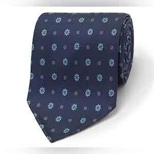 Navy Floral Tile Motif Silk Tie